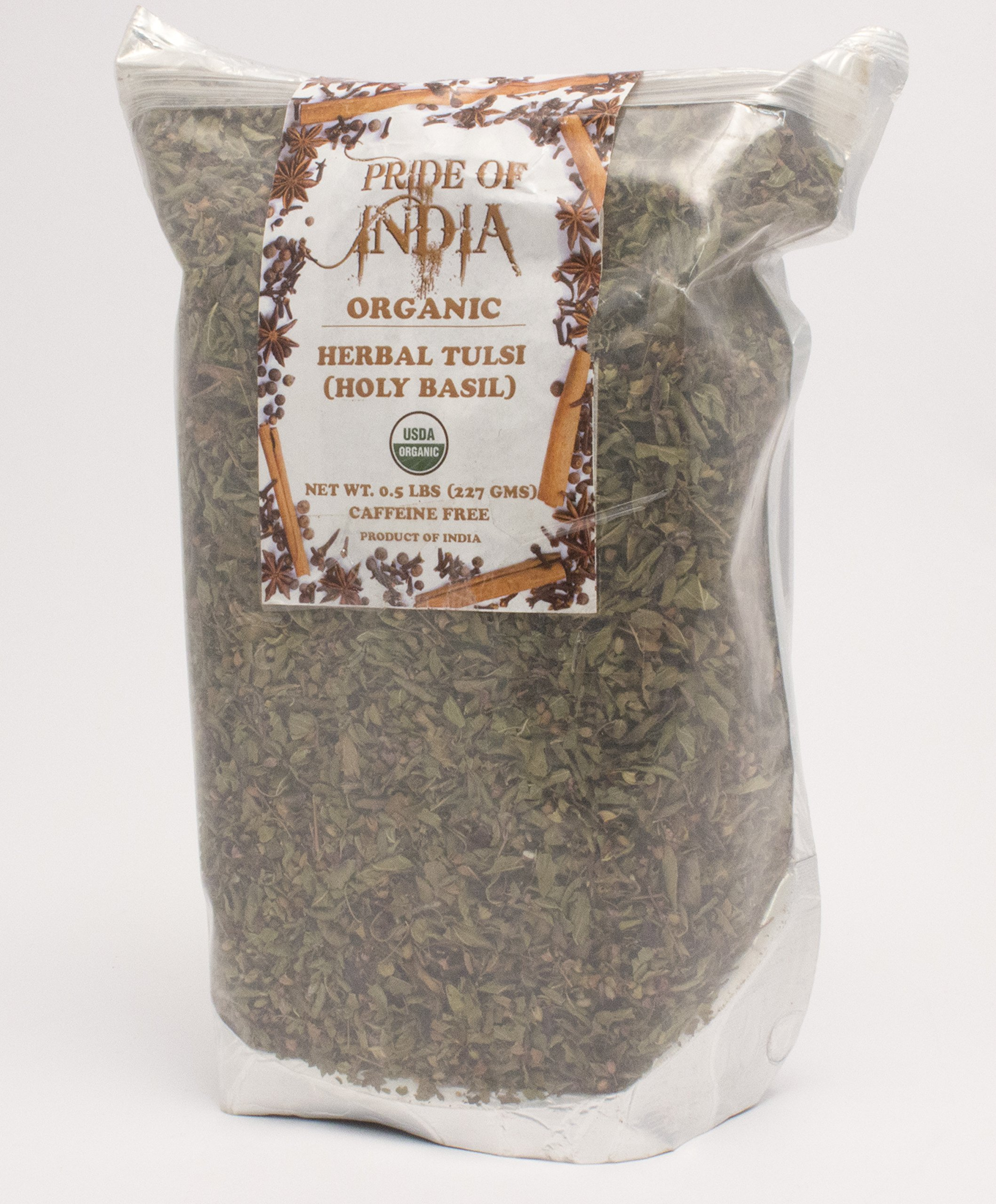 Pride Of India - Organic Tulsi Holy-Basil Herbal Tea, 3.53 oz (100gm) Whole Leaf
