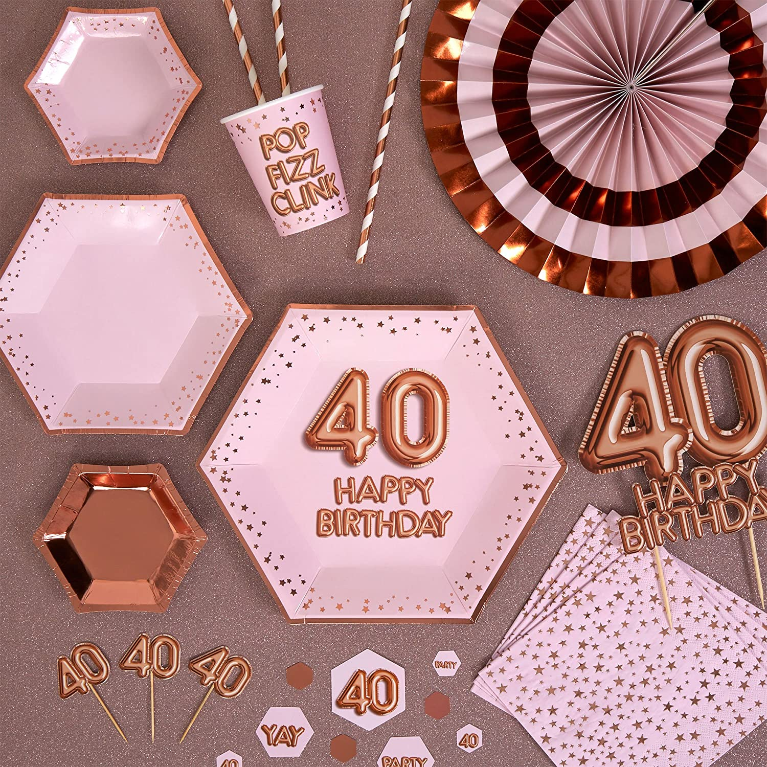 Pink//Rose Gold Neviti 773437 Glitz and Glamour Age 40 Confetti Table Scatters