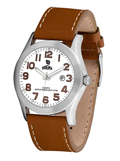 Dogma G7033 - Reloj Caballero Movimiento Quarzo Correa Piel Blanco/Marrón: Amazon.es: Relojes