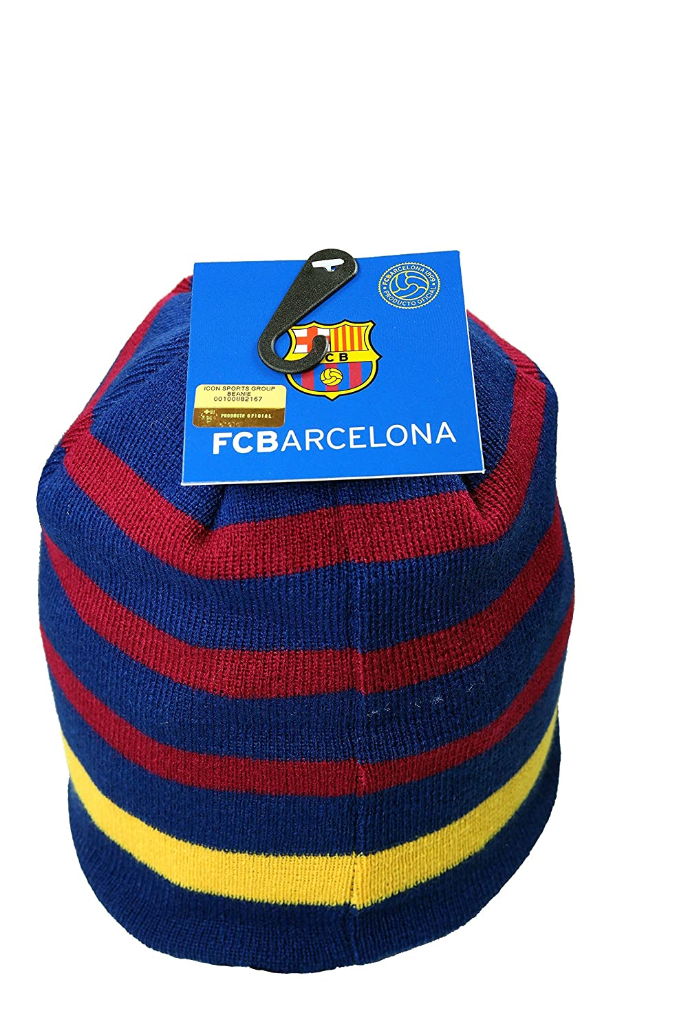 aab93cca7d2e7 Amazon.com   Official FC Barcelona Beanie Knit Hat Cap Gorro Gorra   Sports  Fan Beanies   Sports   Outdoors