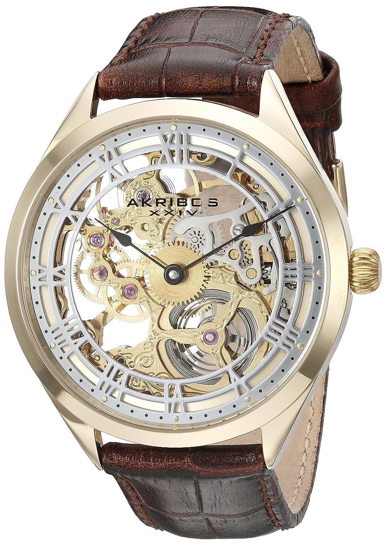 Akribos XXIV Amazon Exclusive Men 's ak802yg Mechanical Hand Wind Brown Watch B00RCKOOLW