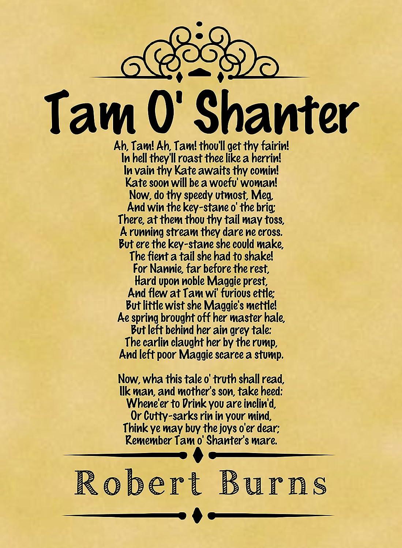 A4 Size Parchment Poster Classic Poem Robert Burns A Fond Kiss ...
