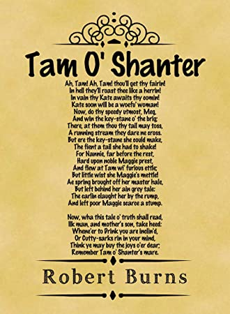 A4 Size Parchment Poster Classic Poem Robert Burns Tam O Shanter ...