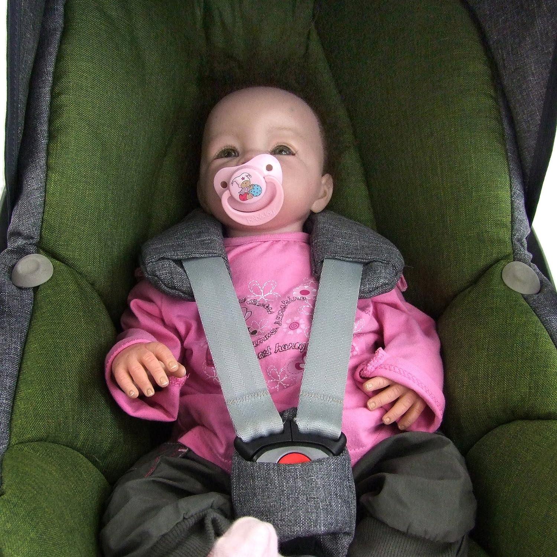 Bezug f/ür Babyschale BAMBINIWELT Ersatzbezug f/ür Maxi-Cosi PEBBLE 5-tlg Komplett-Set *NEU* GRAU//GR/ÜN