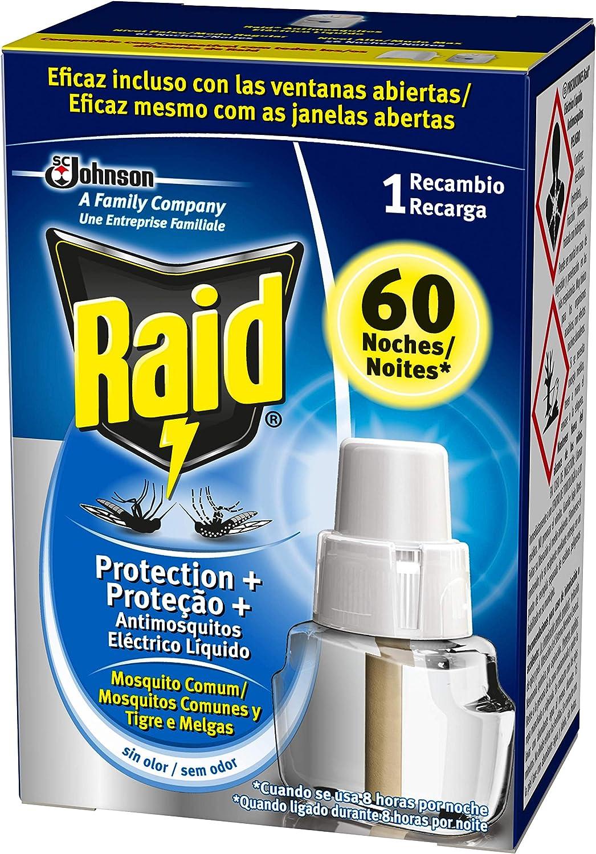 Raid - Recambio para Difusor Eléctrico Protection Plus Anti Mosquitos Comunes y Tigre, Regulador y Modo Alta Protección