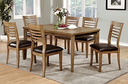 Furniture Of America Dekina 7 Piece Transitional Dining Set, Natural Finish