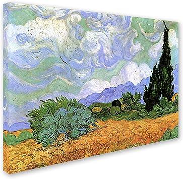 ART PRINT Yellow Wheat and Cypresses Vincent Van Gogh 24x19