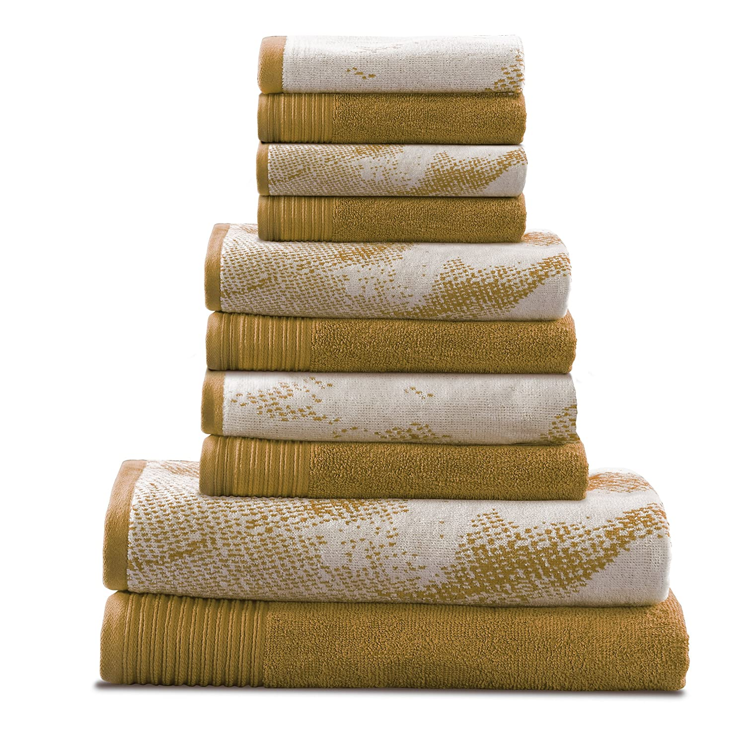 Superior 100% Cotton Marble Effect 10-Piece Towel Set, Solid and Luxurious Marble Pattern Jacquard, Super Soft, Plush and Absorbent, 2 Bath Towels, 4 Hand Towels, 4 Wash Cloths - Brown MARBLE 10PC SET BR