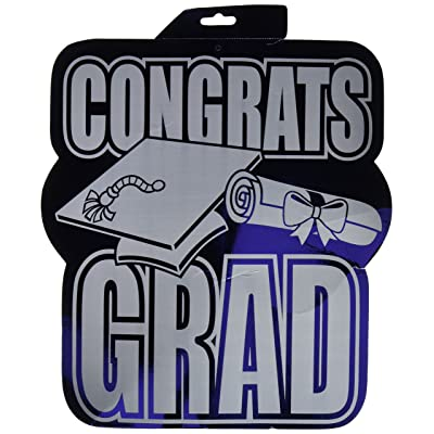 Printed Foil Congrats Grad Cutout (blue) Party Accessory (1 count): Childrens Party Decorations: Kitchen & Dining