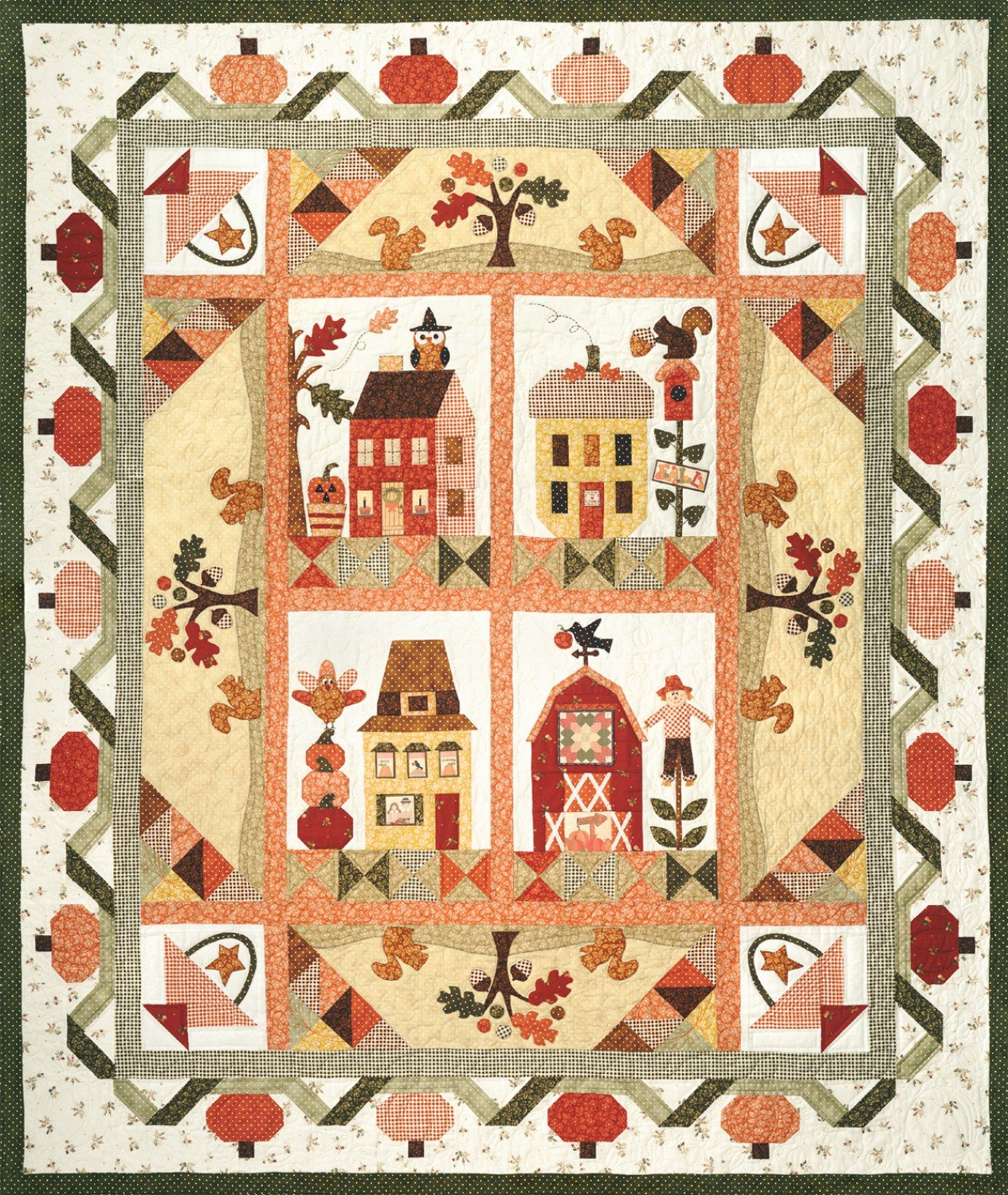 Pumpkin Patch Lane Halloween Autumn Fall The Quilt Company Pattern Set of 6 by Quilt