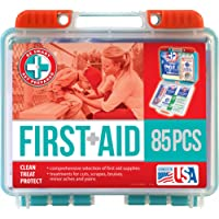 Be Smart Get Prepared 85 Piece First Aid Kit In Durable Plastic Case, Compact, 0.69 Pound