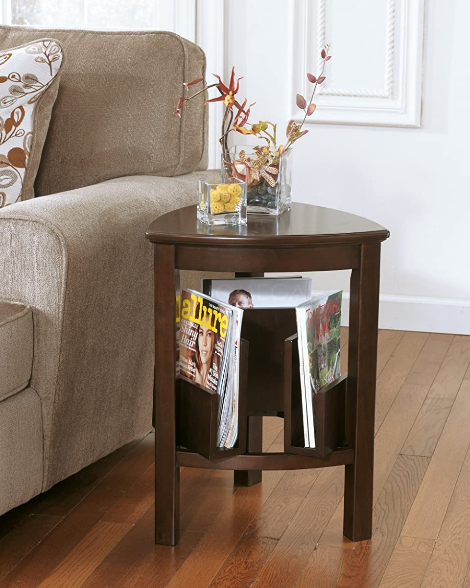 Ashley Furniture Signature Design - Larimer End Table - Chair Side Accent Table - Triangular - Dark Brown Finish