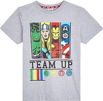Marvel Camiseta Niño, Camisetas Niño Manga Corta con Superheroes Iron Man Capitan America Hulk y Thor, Ropa Niño de Los Vengadores, Regalos para Niños y Adolescentes