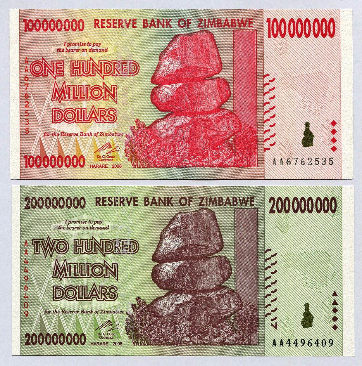 Zimbabwe 100, 200millones de dólar moneda, 2008billetes facturas mundo inflación Record RBZ