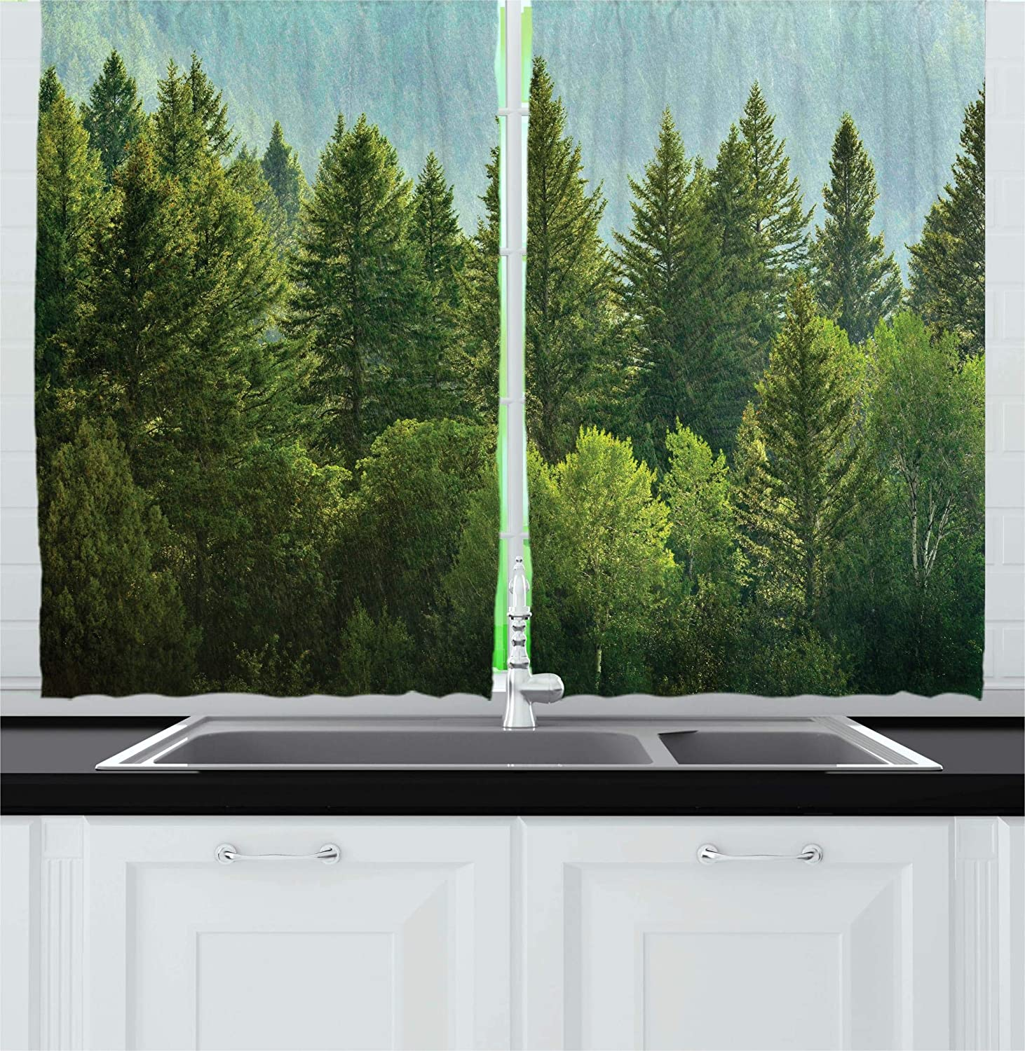 Ambesonne Nature Decor Kitchen Curtains, Forest Pine Tree Tops Refreshing Eco Woodland Wilderness Mountainside Landscape, Window Drapes 2 Panels Set for Kitchen Cafe, 55W X 39L Inches, Green