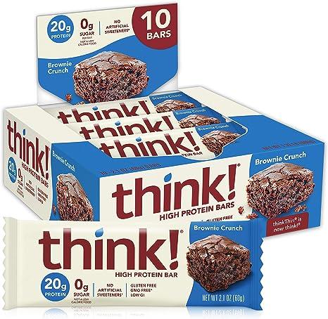 thinkThin High Protein Bars, Brownie Crunch, 2.1 Ounce (pack of 10): Amazon.es: Salud y cuidado personal