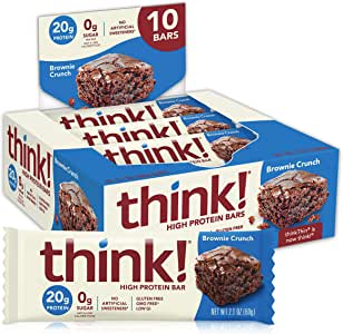 think! (thinkThin) High Protein Bars - Brownie Crunch, 20g Protein, 0g Sugar, No Artificial Sweeteners, Gluten Free, GMO Free, 2.1 oz bar (10 Count - Packaging May Vary)