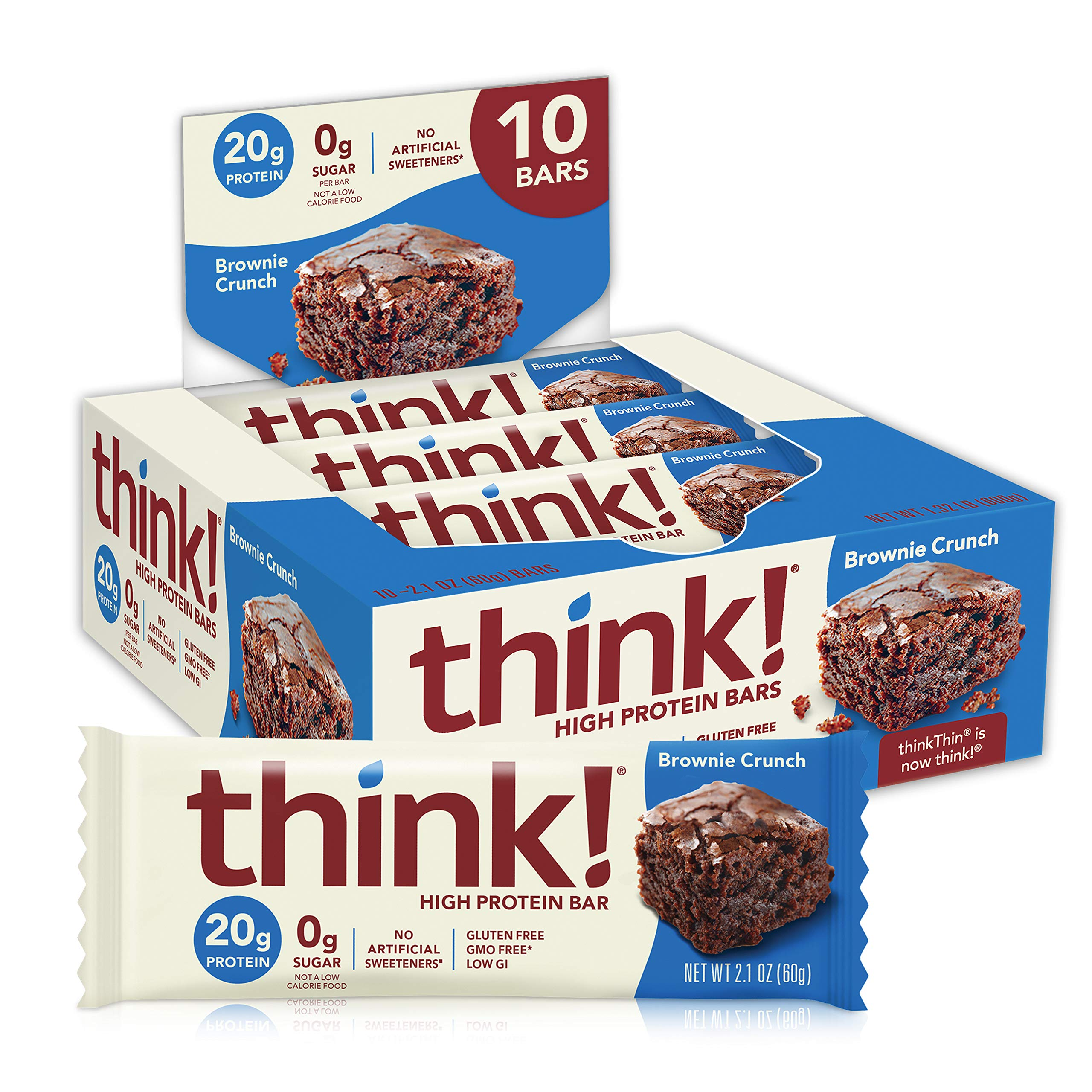 think! (thinkThin) High Protein Bars - Brownie Crunch, 20g Protein, 0g Sugar, No Artificial Sweeteners** Gluten Free, GMO Free*, 2.1 Ounce (10 Count) - Packaging May Vary
