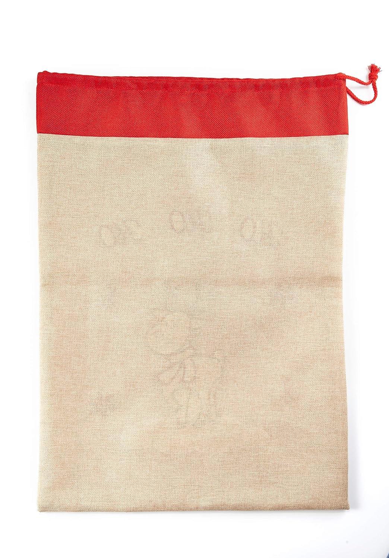 HEITMANN DECO Sac Cadeau en Tissu Naturel//Rouge 69,5 x 40 cm
