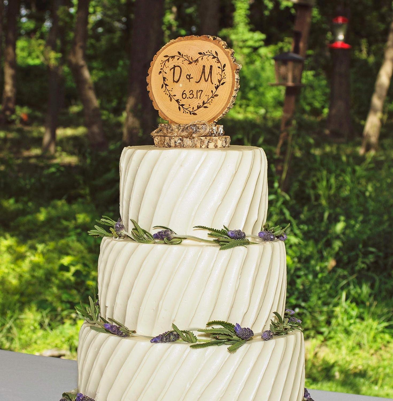 Rustic Wedding Cake Topper Anniversary Personalized Engraved Wedding Keepsake Wood Cake Top Baby Shower