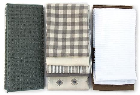 8 piezas Juego de paños de cocina toalla y plato: cinco decorativo harina saco toallas