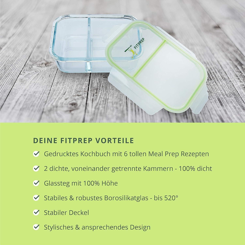 FITPREP/® Set di contenitori salvafreschezza in Vetro Premium Meal Prep Container 4 x 1040 ml 2 densit/à e camere Completamente Separate Vetro da -40 a 520/°C