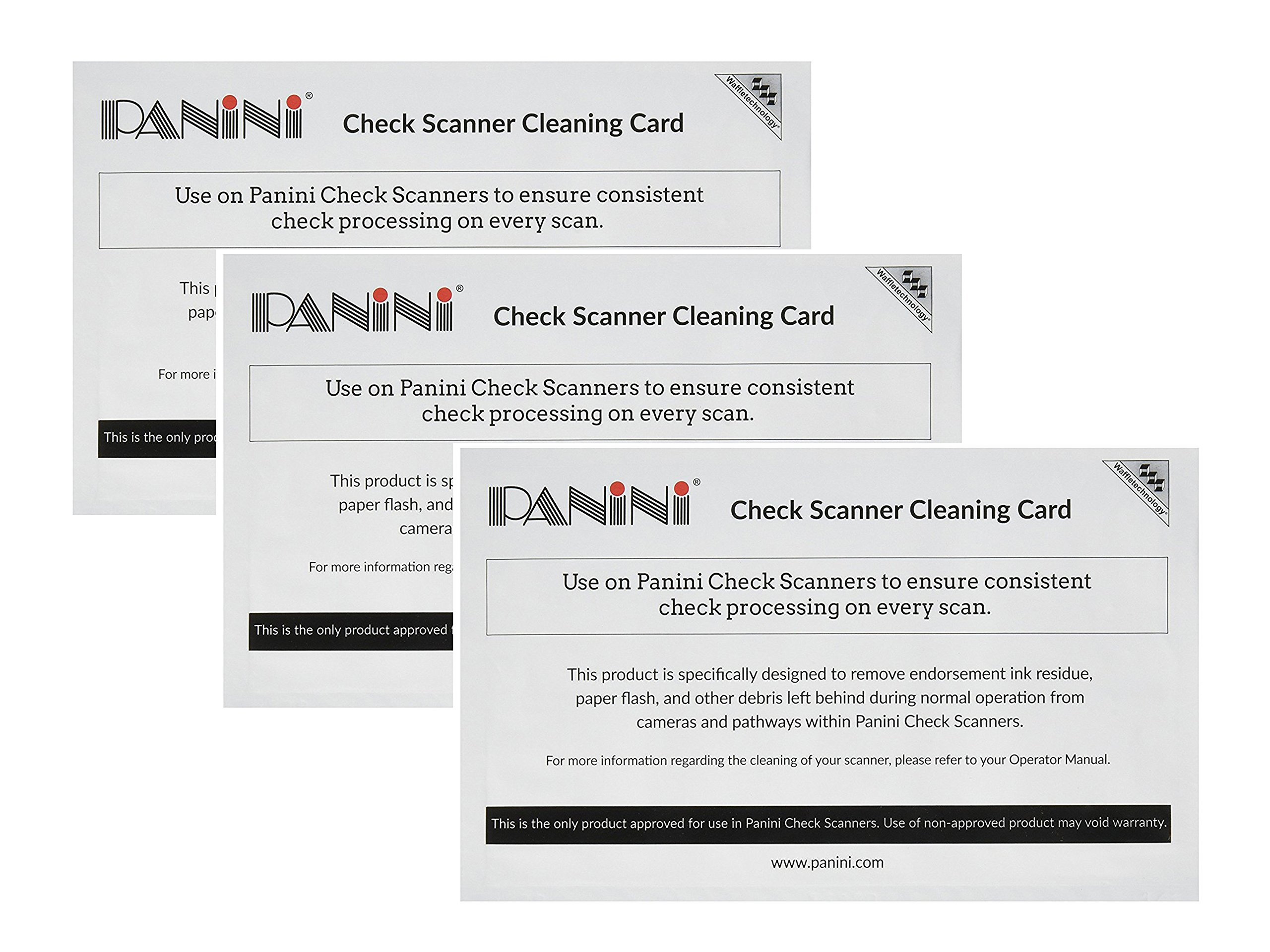 Set of 3 Panini 15 cards Check Scanner Cleaning Cards featuring Waffletechnology bundled by Maven Gifts