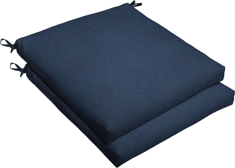 Mozaic AMCS107819 Indoor or Outdoor Sunbrella Square Chair Seat Cushions Set, Set of 2, 20 x 20 x 2.5, Indigo Blue