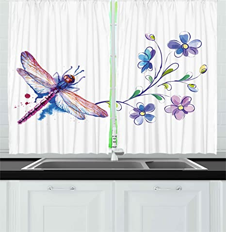 Ambesonne Dragonfly Kitchen Curtains Watercolor Bug Butterfly Like Moth With Branch Ivy Flowers Lilies Art Window Drapes 2 Panel Set For Kitchen Cafe Decor 55 X 39 Green Purple And Blue
