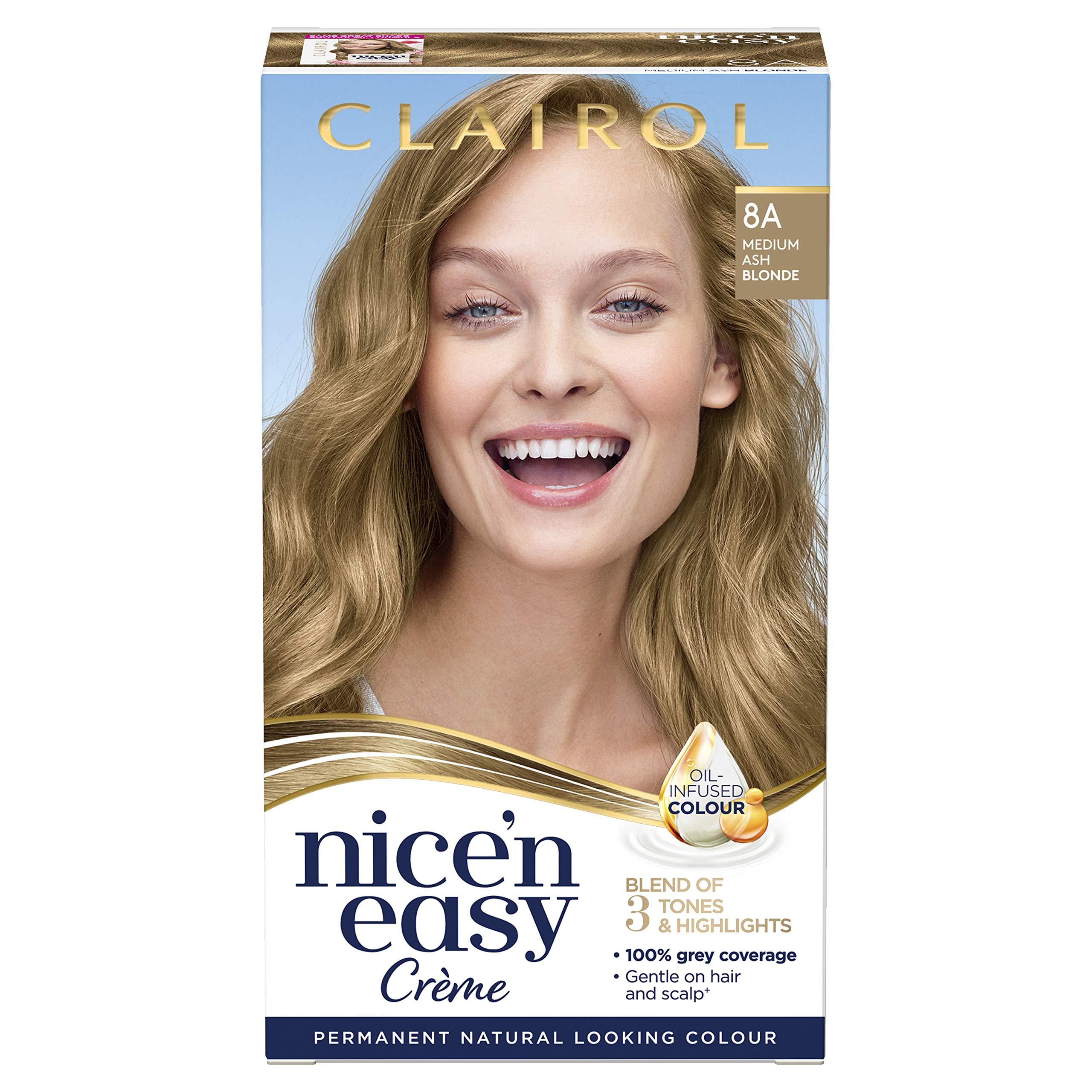 Clairol Nice'n Easy Crème, Natural Looking Oil Infused Permanent Hair Dye, 8A Medium Ash Blonde