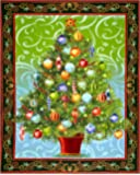 Holiday Treasures Metallic Christmas Tree 36in. Panel Forest Fabric