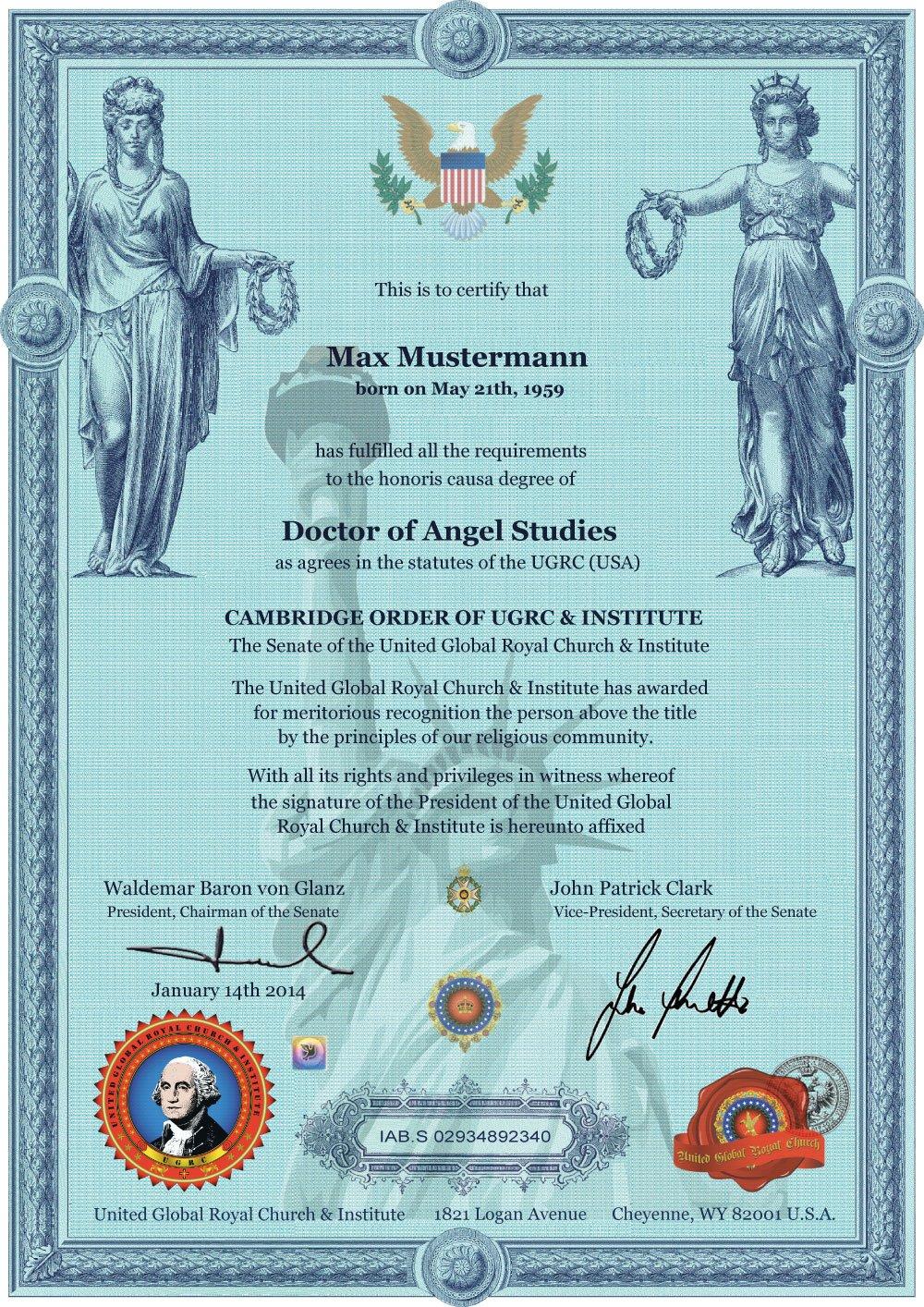✰ Doctor of Angel Studies Ehrendoktor h.c. ✰ Doktor der ...