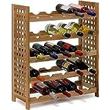 Relaxdays Étagère à vin casier à vin Rangement range-bouteilles horizontal pour 25 bouteilles 5 par étage en bois de noyer 5 niveaux 73 x 63 x 25 cm Naturelle