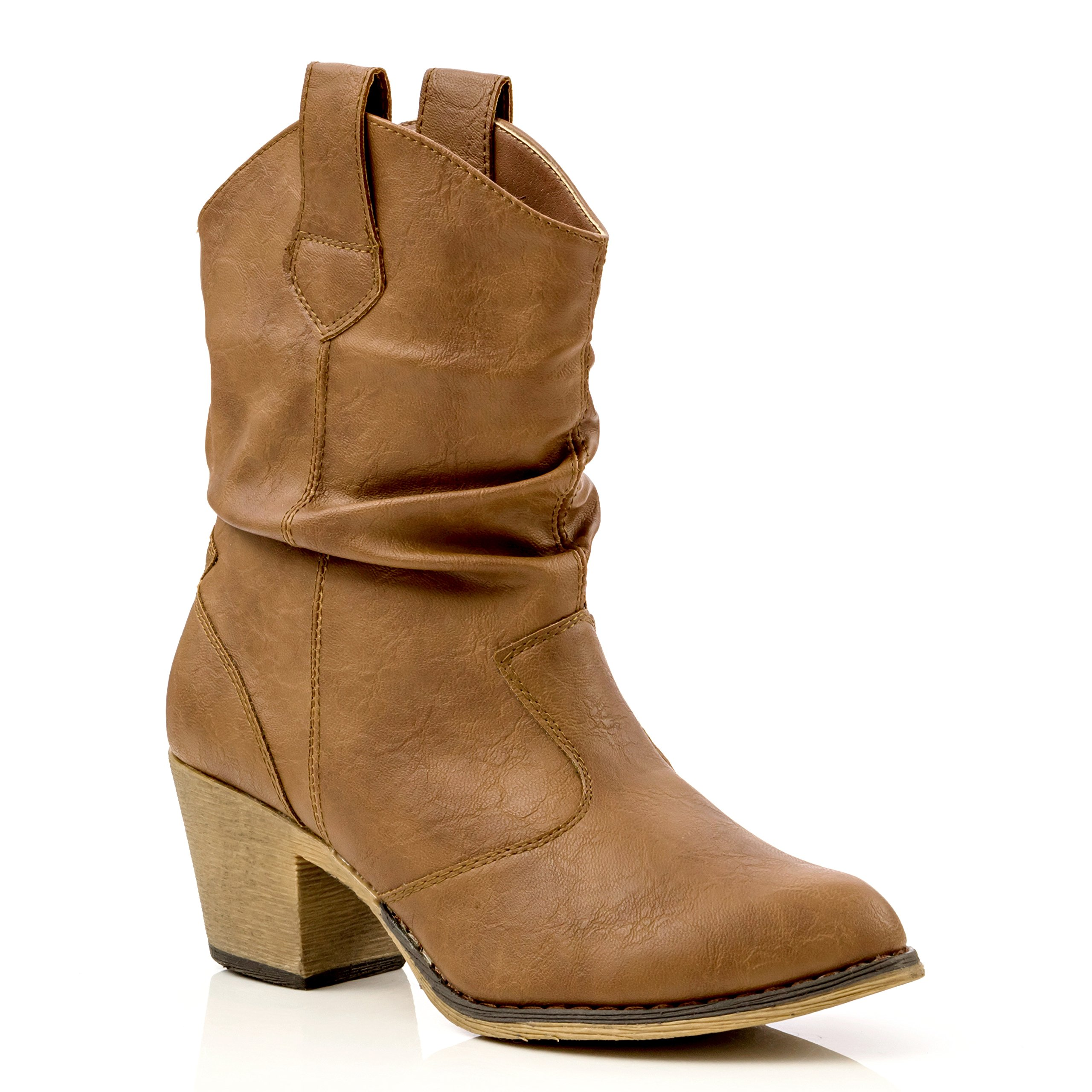 Charles Albert Women's Modern Western Cowboy Distressed Boot Pull-up Tabs (8, Cognac)