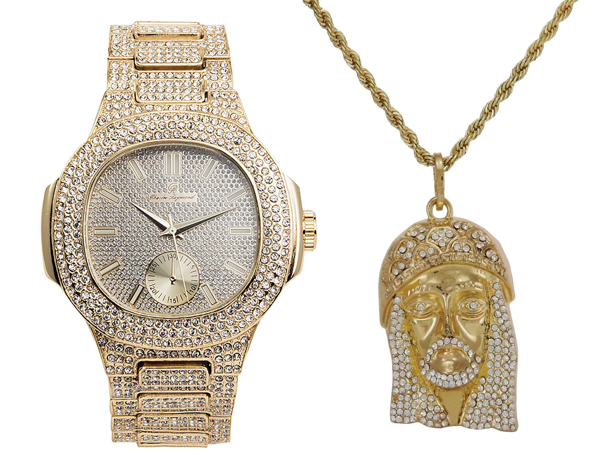Iced out Bling Watch and 3D Iced Out Jesus Pendent Necklace Set - 8475Jesus Gold