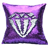"""BOOBEI Two Colors Reversible Sequins Mermaid Pillow Cases 1616"""" Purple and Silver"""