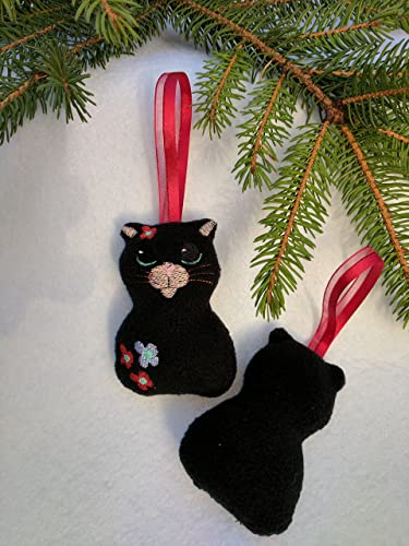 handmade black cat hanging christmas tree decoration ornament home decoration with machine embroidered face