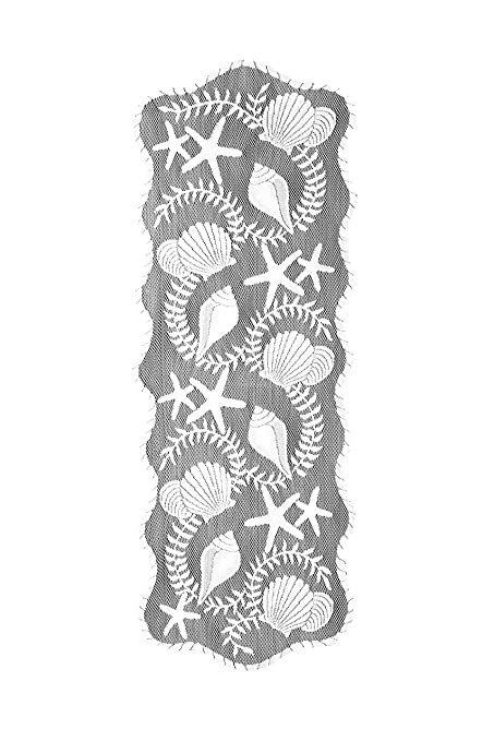 Merveilleux Heritage Lace Tidepool Table Runner, 14 By 40 Inch, White
