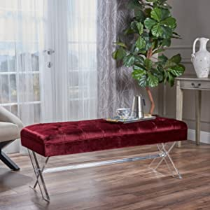 Christopher Knight Home Emeric Tufted Velvet Ottoman with Clear Acrylic Legs, Garnet / Clear
