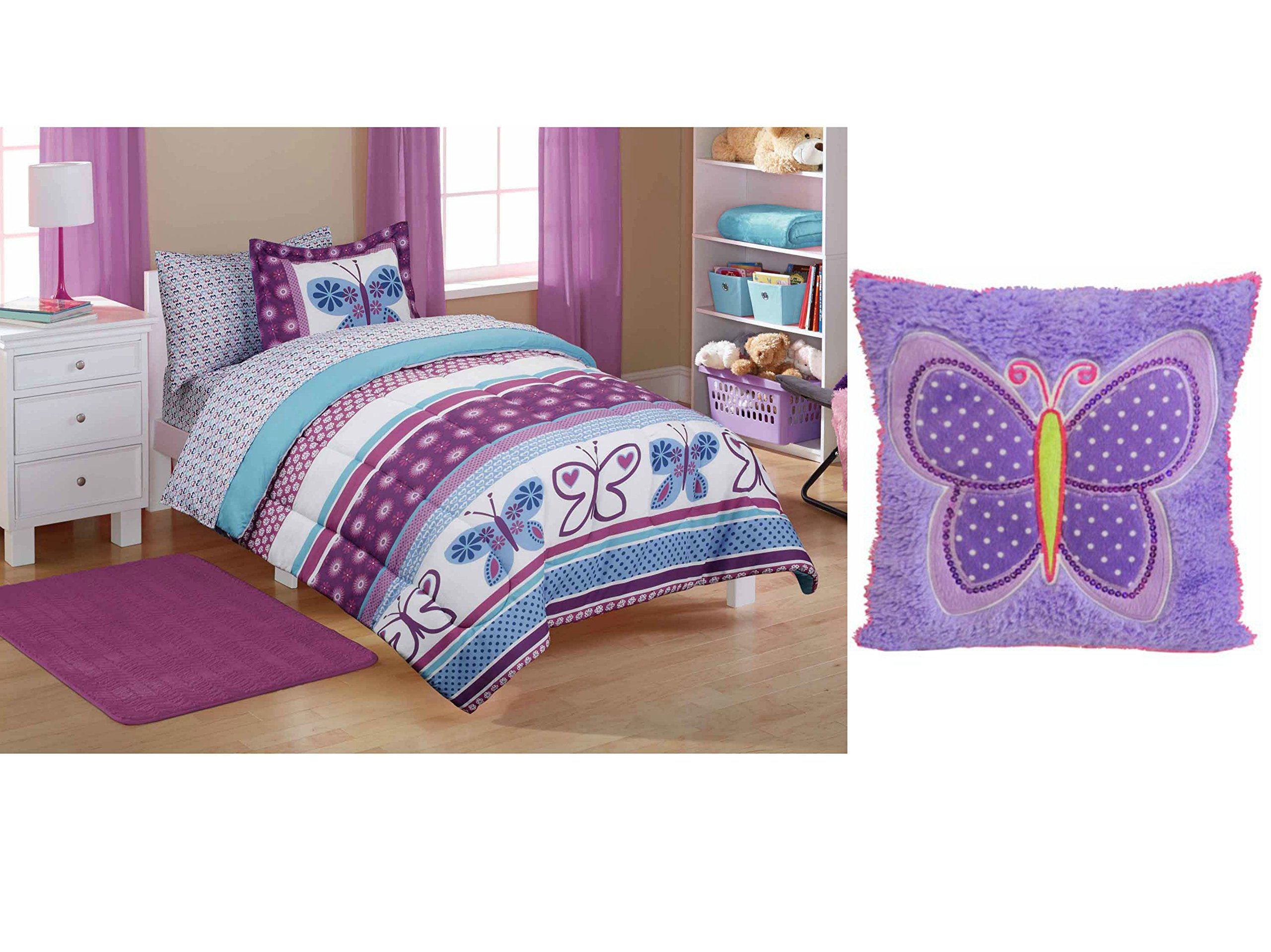 Mainstays Kids' Purple Butterfly Coordinated 5-Piece TWIN Size Bed in a Bag with Mainstays Kids Decorative Pillow with Butterfly Patches