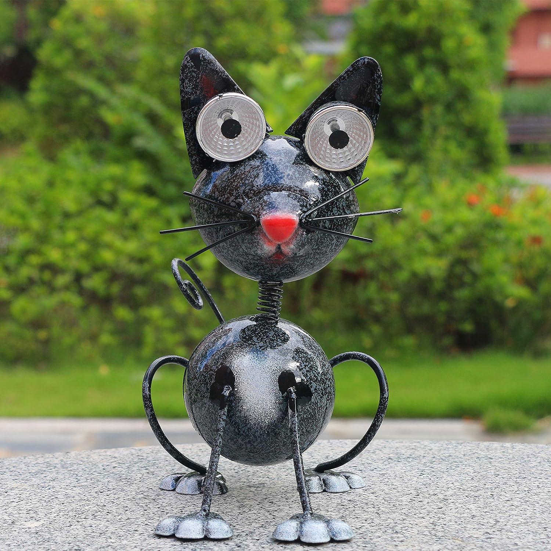 LED Garden lamp Solar Energy Animal Waterproof lamp Outdoors Decorate Statue lamp Backyard Alley Metal Black cat Statue Lawn Street lamp Halloween Balcony Luminescent lamp