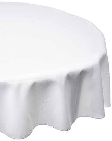 LinenTablecloth 90 Inch Round Polyester Tablecloth, White