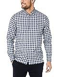Tommy Hilfiger Men's Slim Fresh Chequered Shirt, Bright White/Blue Quartz