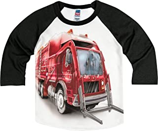 product image for Shirts That Go Little Boys' Big Red Garbage Truck Raglan T-Shirt