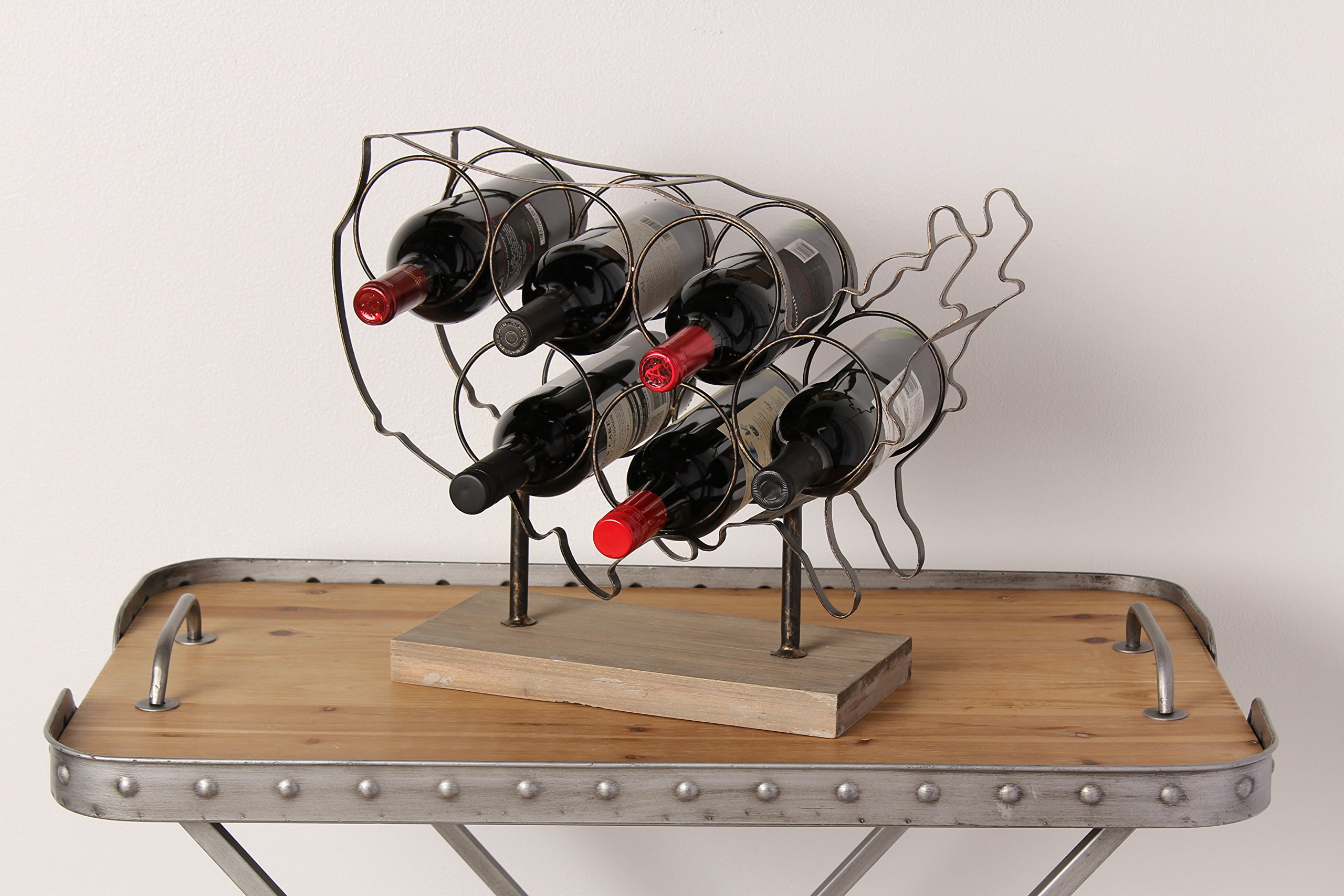 Kate and Laurel America Countertop Lightweight Metal and Wood Wine Rack Holds 6 Wine Bottles
