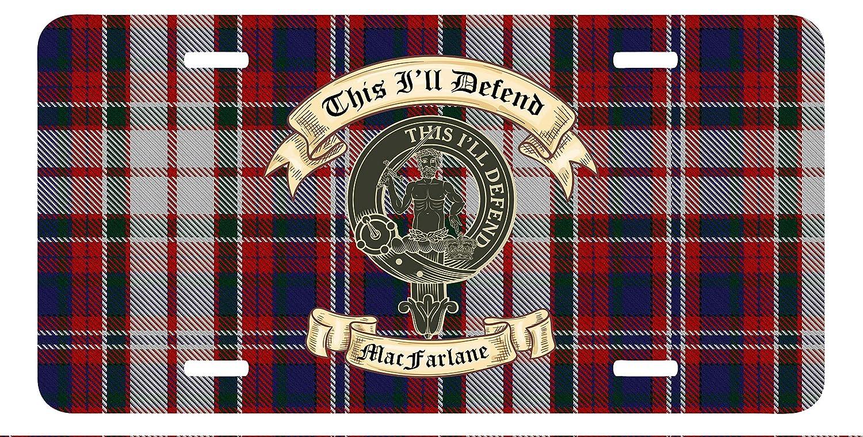 Whimsly Scottish MacFarlane Clan License Plate Show Your MacFarlane Clan Crest and Motto on Your MacFarlane0308136853775 Clan Tartan