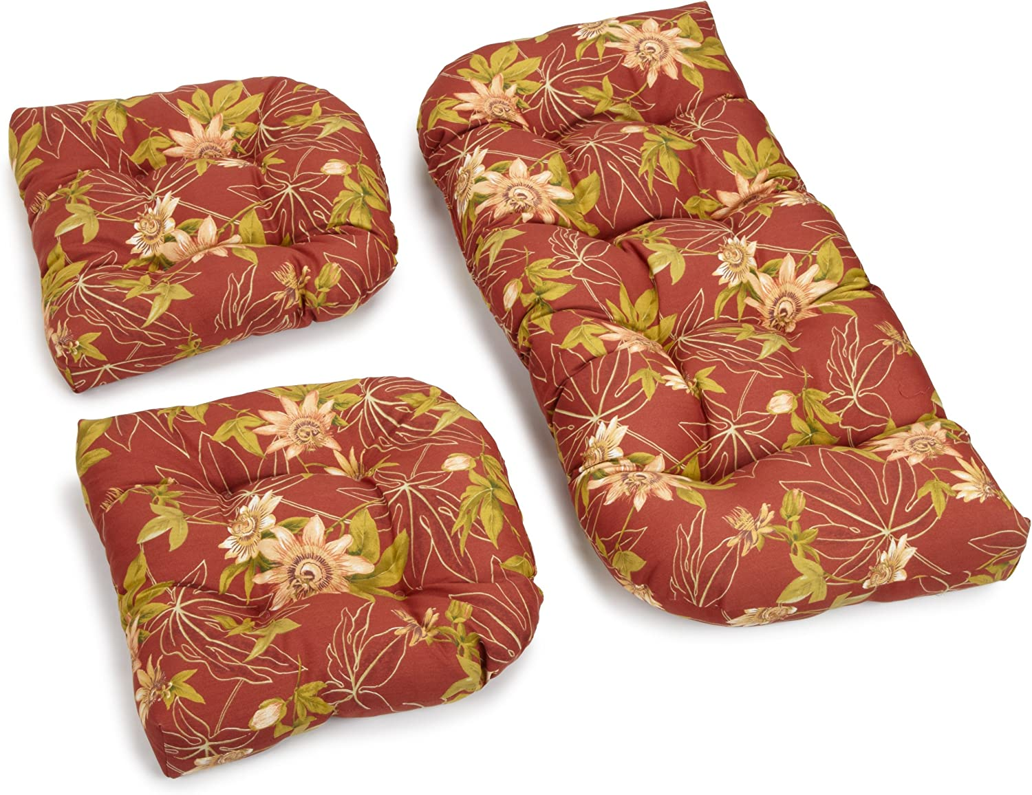 Blazing Needles Outdoor Spun Poly All Weather UV Resistant Settee Group Cushions, Passion Ruby, Set of 3