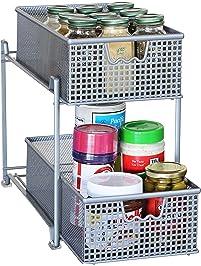 Attractive DecoBros 2 Tier Mesh Sliding Cabinet Basket Organizer Drawer,Silver