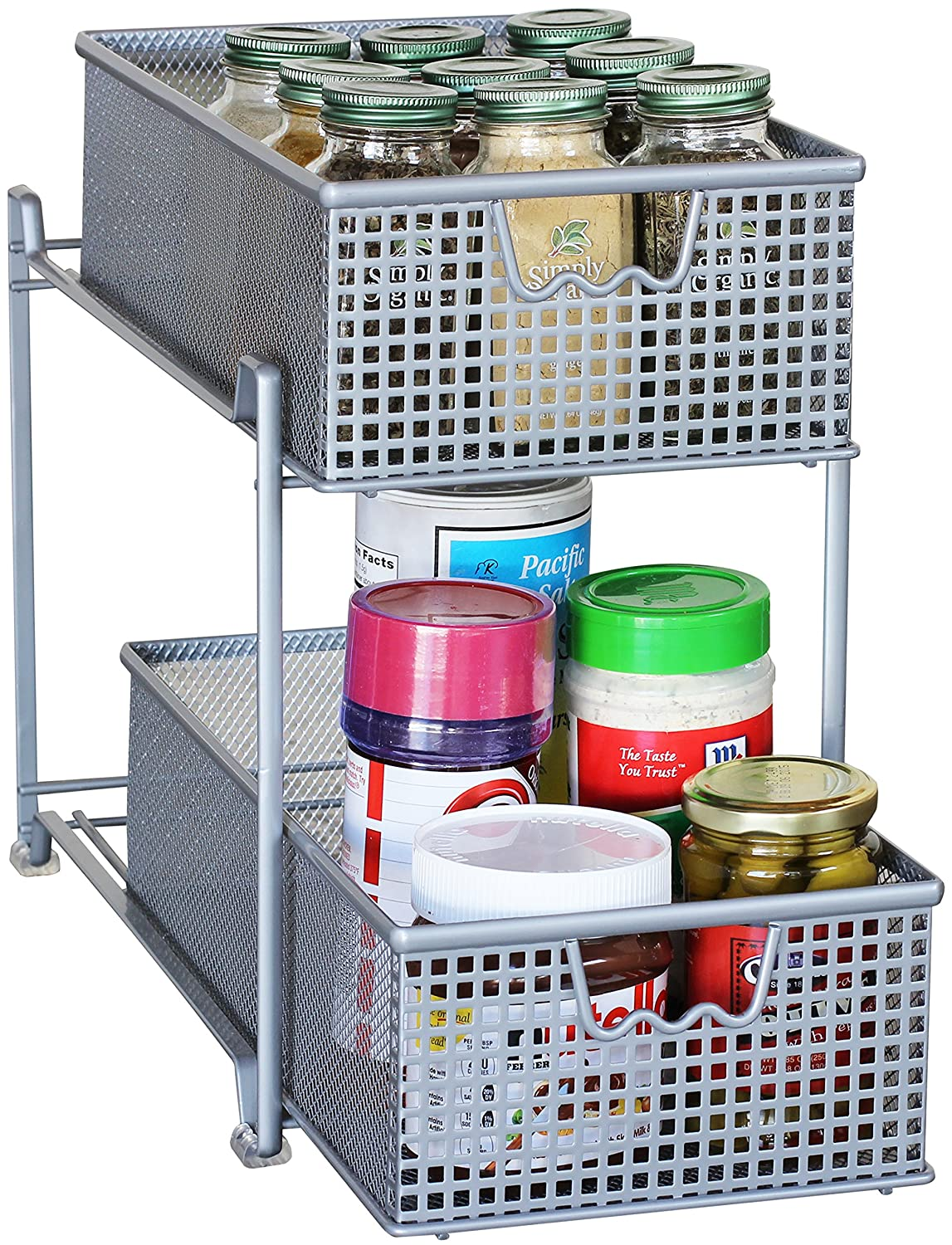 Uncategorized Sliding Basket Organizer amazon com decobros 2 tier mesh sliding cabinet basket organizer drawersilver home kitchen
