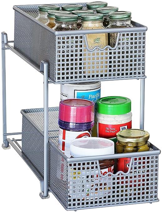 Gentil Amazon.com: DecoBros 2 Tier Mesh Sliding Cabinet Basket Organizer  Drawer,Silver: Home U0026 Kitchen